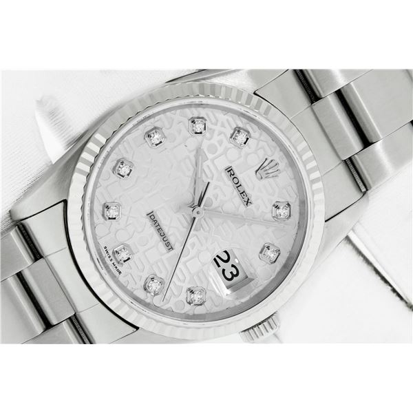 Rolex Stainless Steel DateJust Original Silver Jubilee Diamond With Rolex Box &