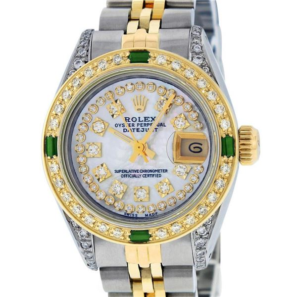 Rolex Ladies 2 Tone Mother Of Pearl String Diamond Lugs & Emerald Datejust Wrisw