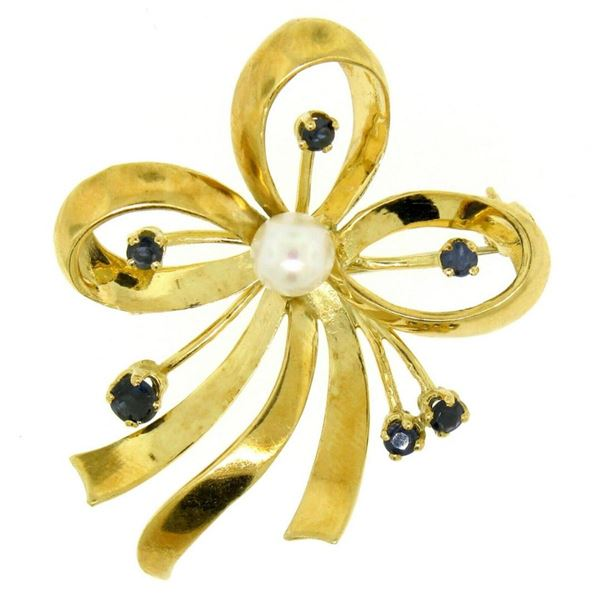 18k Yellow Gold Multi Ribbon Sapphire and Pearl Elegant Pin Brooch