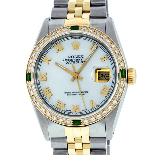 Rolex Mens 2 Tone Mother Of Pearl Diamond & Emerald 36MM Datejust Wristwatch