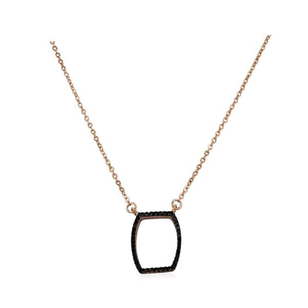 Black CZ Pendant Necklace - Rose Gold Plated