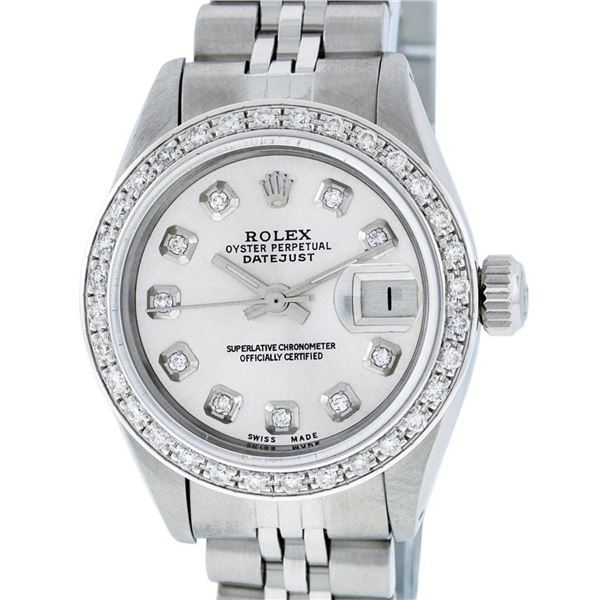 Rolex Ladies Stainless Steel Silver Diamond 26MM Oyster Perpetual Datejust