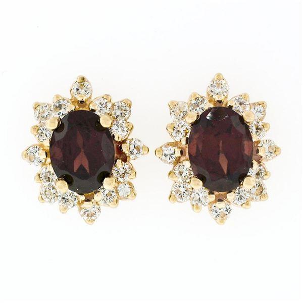14k Yellow Gold 3.80 ctw Oval Garnet & Layered Round Diamond Halo Stud Earrings