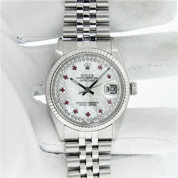 Rolex Mens Stainless Steel Mother Of Pearl Diamond & Ruby Datejust Wristwatch Wi