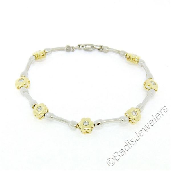 14kt White and Yellow Gold 0.50 ctw Burnish Diamond Flower and Bar Link Bracelet