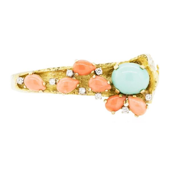 17.82 ctw Turquoise and Pink Coral Bangle Bracelet - 18KT Yellow Gold