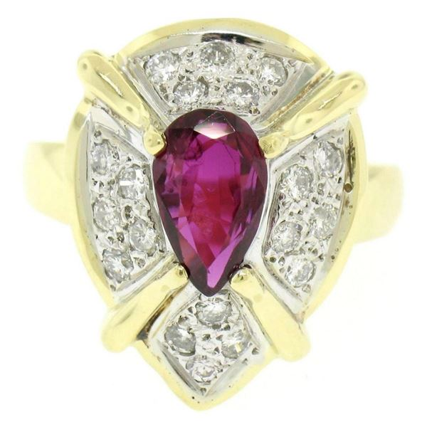 Vintage 18kt White and Yellow Gold 2.98 ctw Ruby and Diamond Cocktail Ring