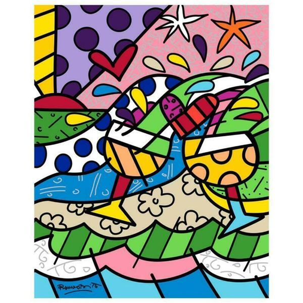 """Romero Britto """"Wine Country Yellow"""" Hand Signed Limited Edition Giclee on Canvas"""