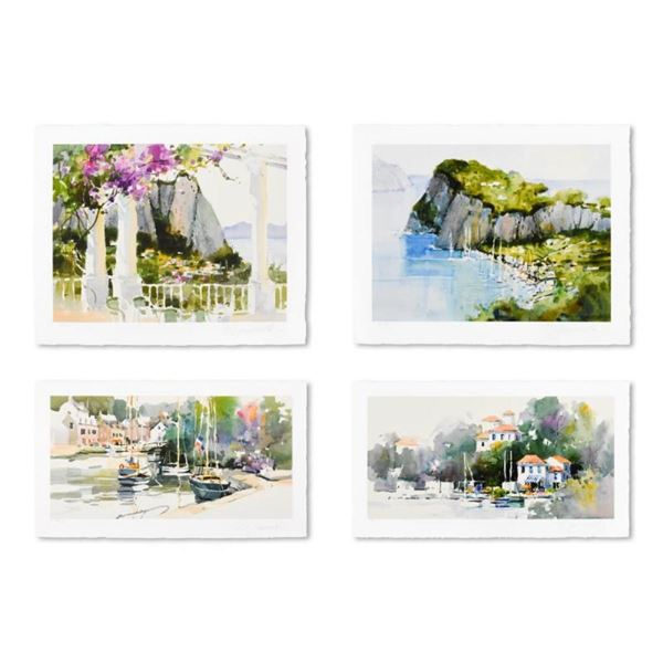 """Marilyn Simandle, """"Exotic Ports (Set of 4)"""" Limited Edition, Numbered and Hand S"""