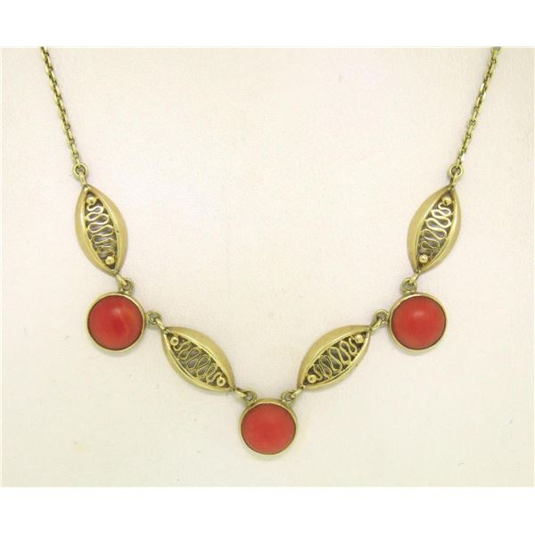 14k Solid Gold Ox Blood Red Coral Open Work Collar Necklace
