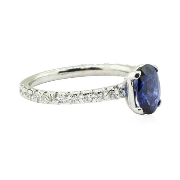 1.78 ctw Sapphire and Diamond Ring - 14KT White Gold