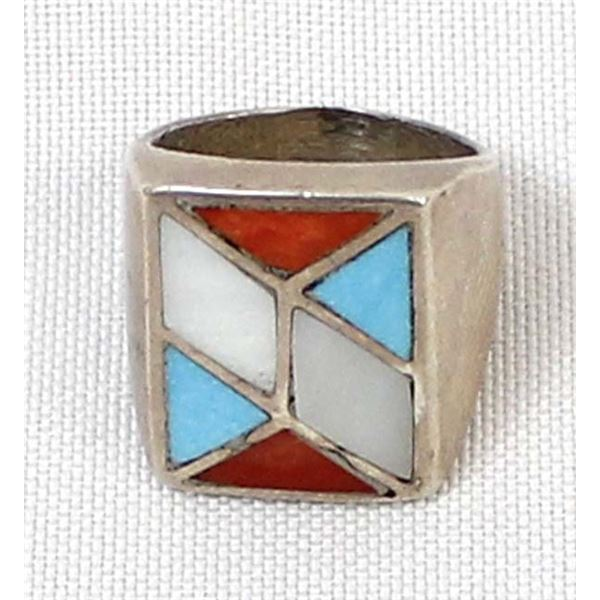 Vintage Zuni Sterling Inlay Ring, Size 8
