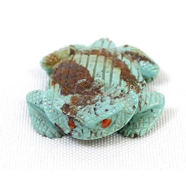 Zuni Carved Turquoise Horned Toad Fetish, Cheama
