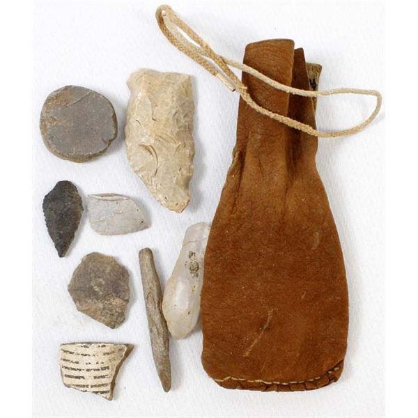 Native American Doeskin Leather Fetish Bag