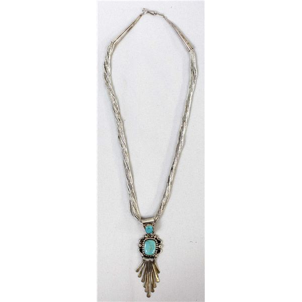 Navajo Liquid Silver & Turquoise Pendant Necklace