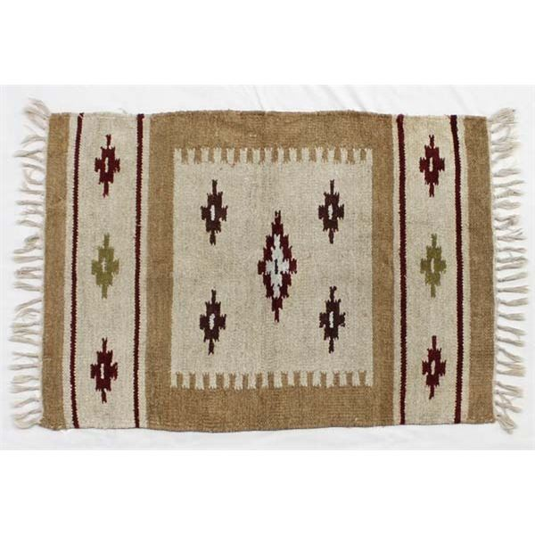 Vintage Mexican Fringed Textile Rug