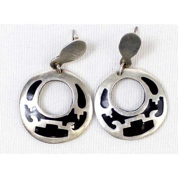 Vintage Mexican Sterling & Enamel Earrings