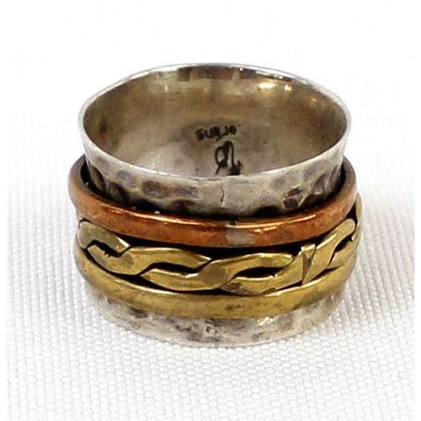 Sterling Copper & Brass Spinner Ring, Size 8.5