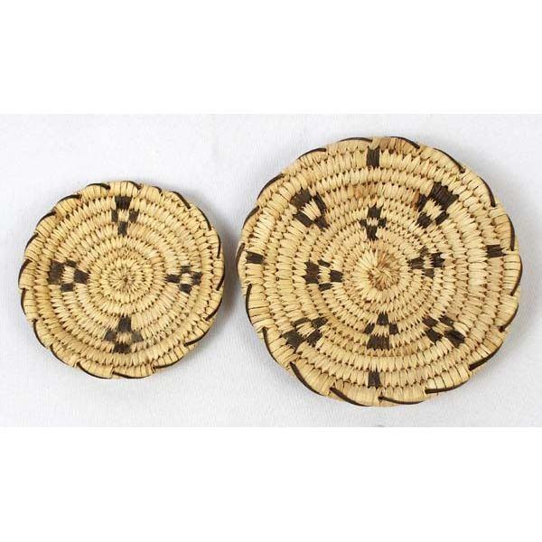 2 Traditional Tohono O'odham Flat Baskets