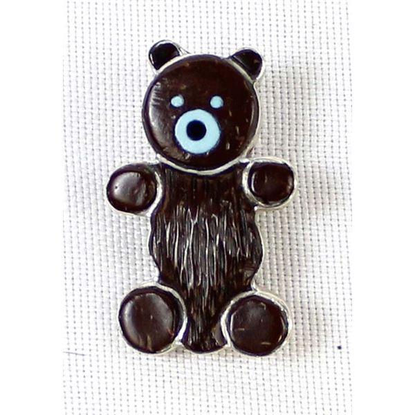 Zuni Sterling Inlay Bear Pin Pendant, E. Leekity