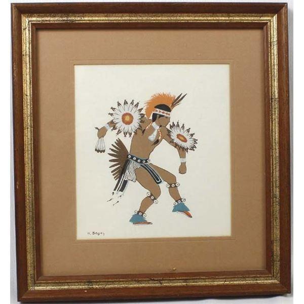 Framed Navajo Harrison Begay Eagle Dancer Print