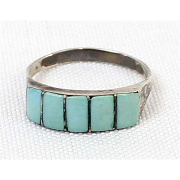 Zuni Sterling Turquoise Inlay Ring, Size 8