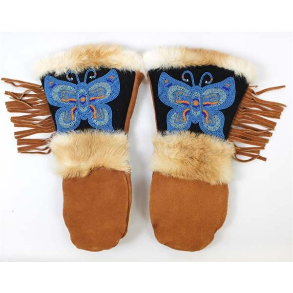 Astis Beaded Butterfly Suede Leather Mittens