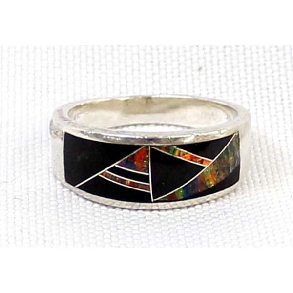 Sterling Channel Inlay Ring, Size 5
