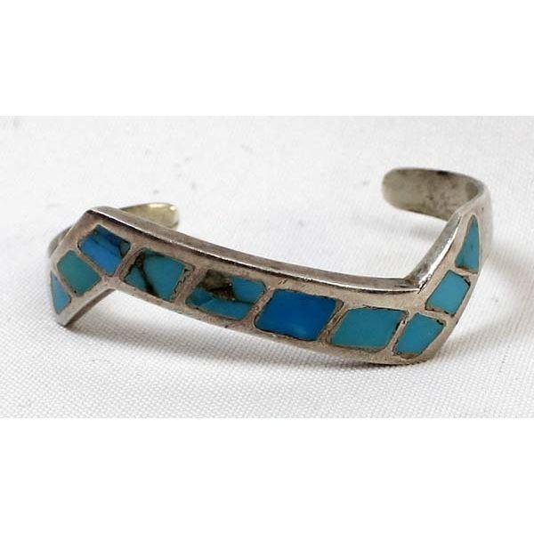 Navajo Sterling Inlay Lightning Bolt Bracelet