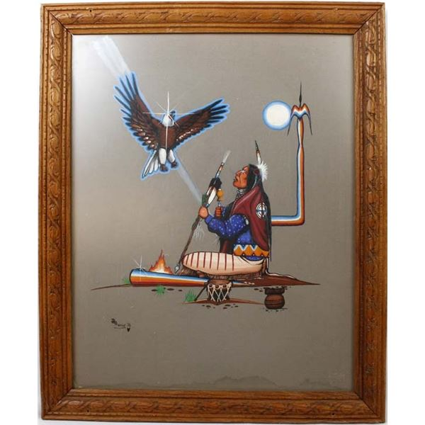 1976 Original Mohawk Acrylic Painting by Thomas
