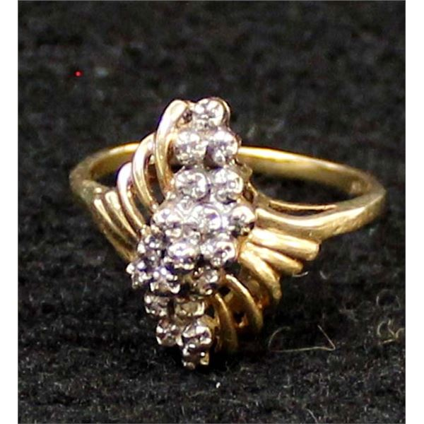 10K Gold Plate & Diamond Chip Ring, Size 7.75