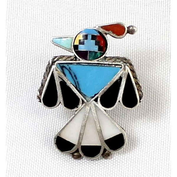 Zuni Sterling Inlay Thunderbird Ring, Size 7