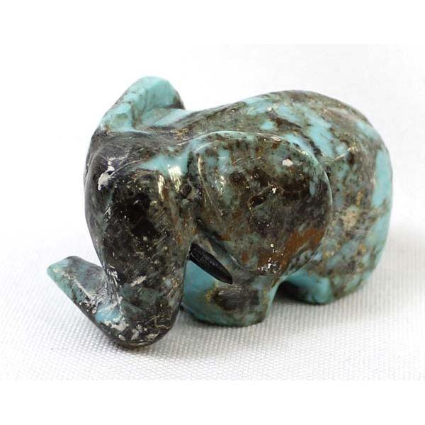 Zuni Carved Turquoise Elephant Fetish by Ephram Chavez