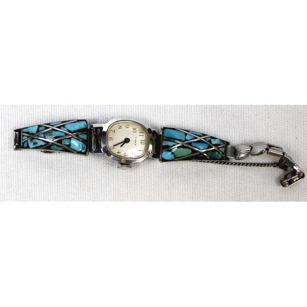 Southwestern Channel Inlay Turquoise Watch Band