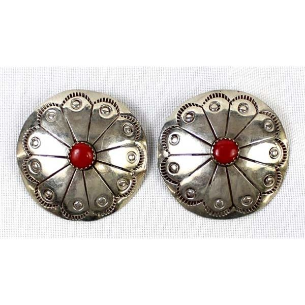 Navajo Sterling Coral Concho Earrings