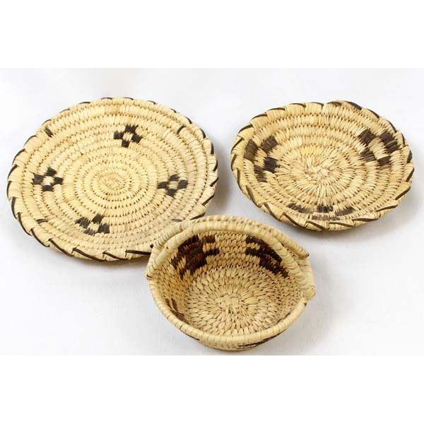 3 Traditional Tohono O'odham Coyote Tracks Basket