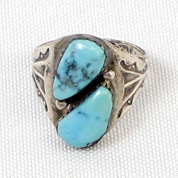 Navajo Sterling Turquoise Ring, Size 9