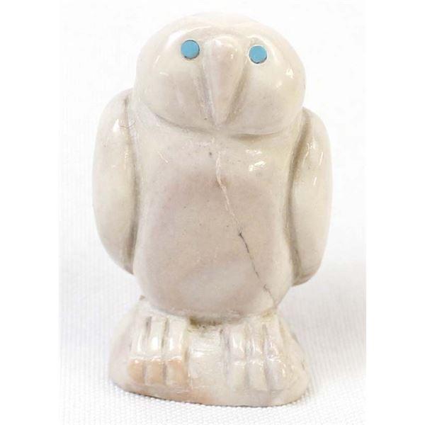 Zuni Carved Dolomite Owl Fetish by B. Yatsattie