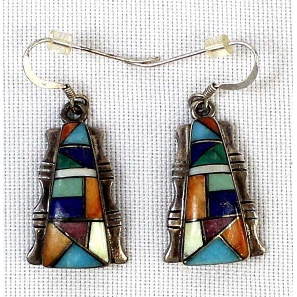 Zuni Sterling Inlay Earrings by John Kallestewa