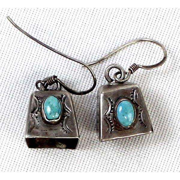 Vintage Navajo Sterling Turquoise Bell Earrings