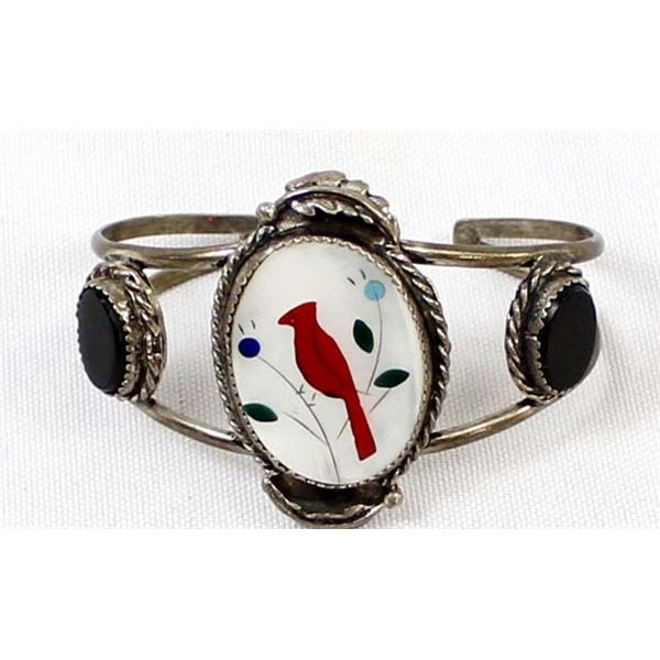 Zuni Navajo Sterling Cardinal Bird Bracelet