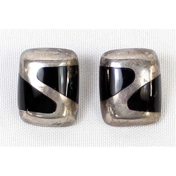 Mexican Sterling Onyx Clip-On Earrings