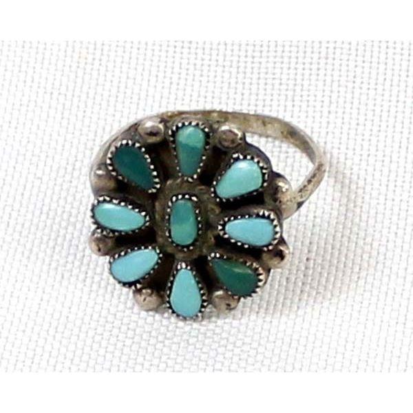 Vintage Navajo Sterling Turquoise Cluster Ring, 8