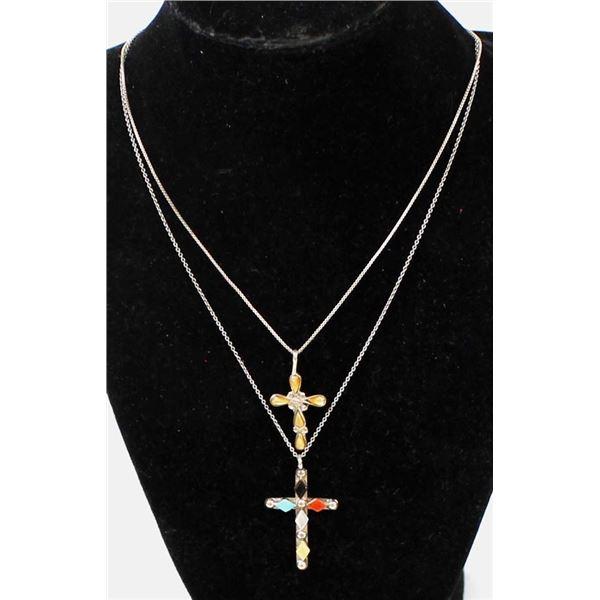 2 Navajo Sterling Cross Pendant Necklaces