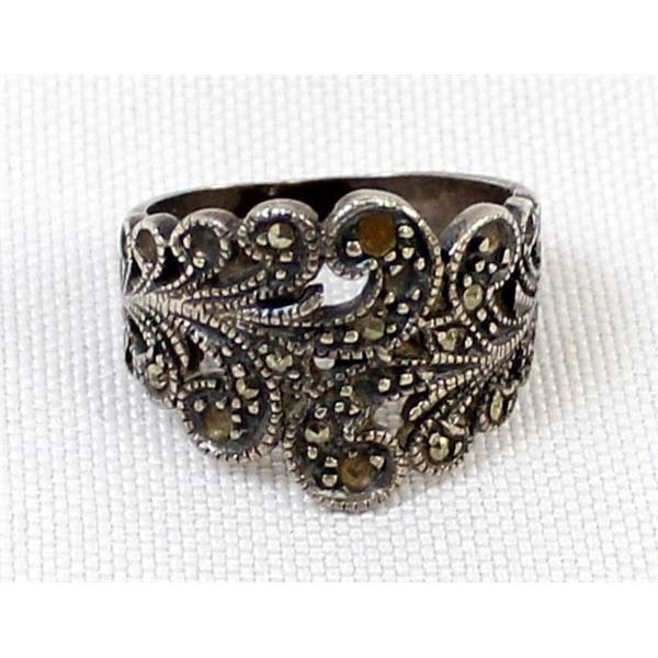 Sterling Marcasite Ring, Size 6.5