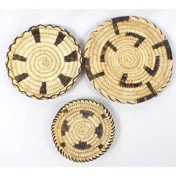 3 Native American Tohono O'odham Baskets