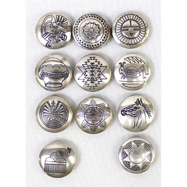 11 Navajo Sterling Silver Button Covers