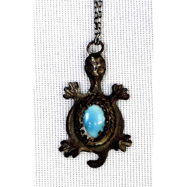 Vintage Navajo Sterling Turquoise Turtle Necklace