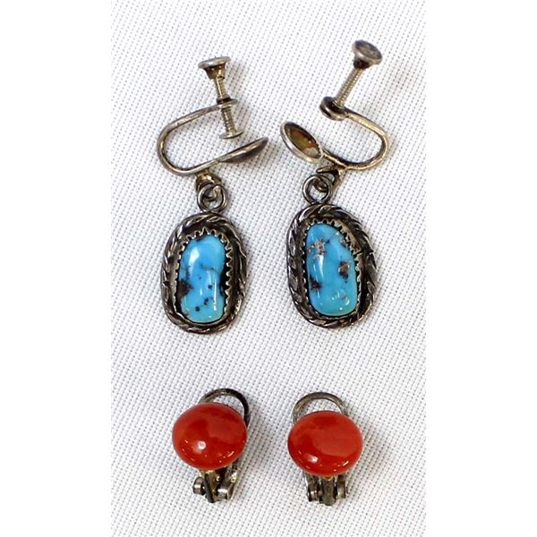 2 Pairs of Vintage Navajo Screwback Earrings