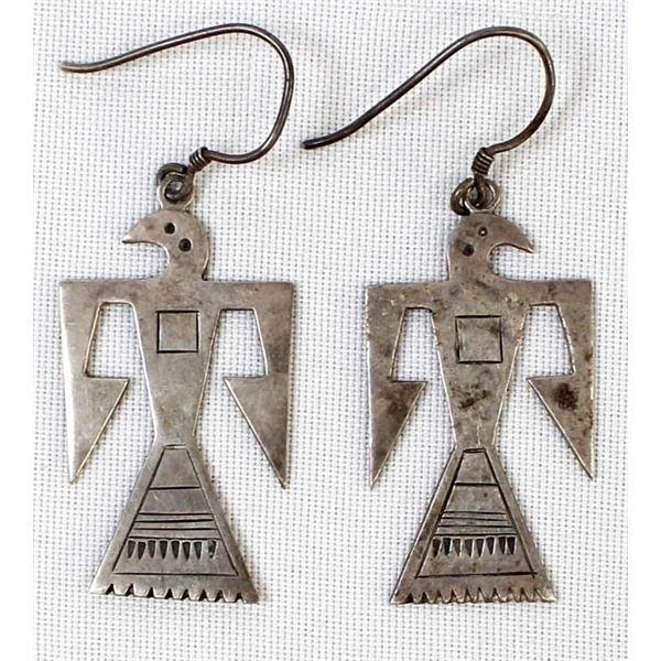 Vintage Navajo Sterling Thunderbird Earrings